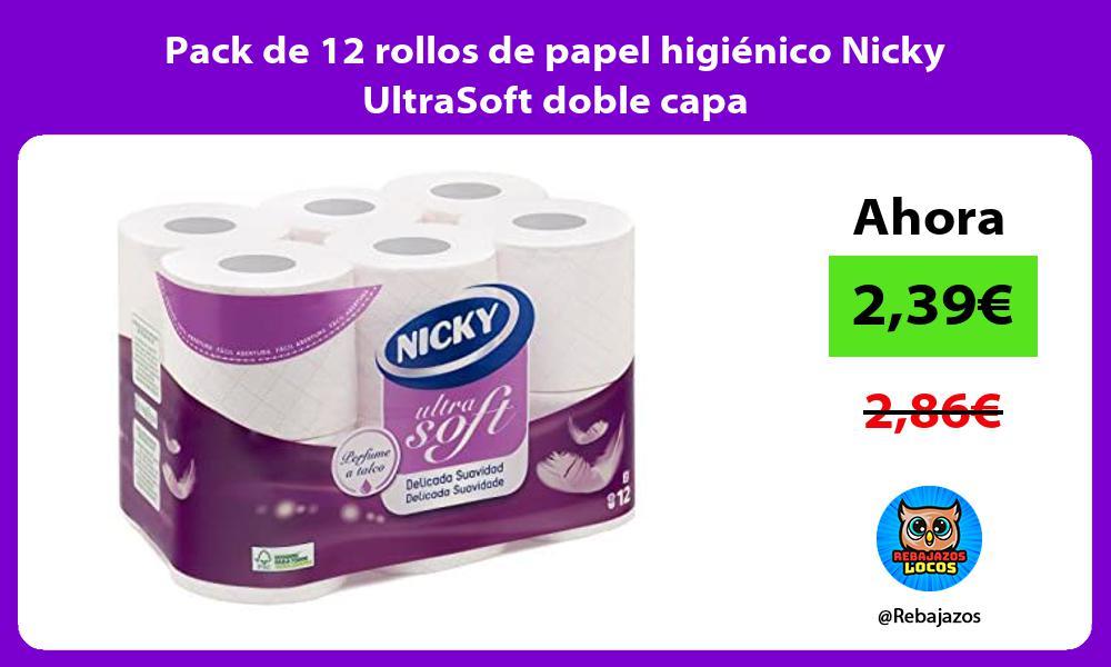 Pack de 12 rollos de papel higienico Nicky UltraSoft doble capa