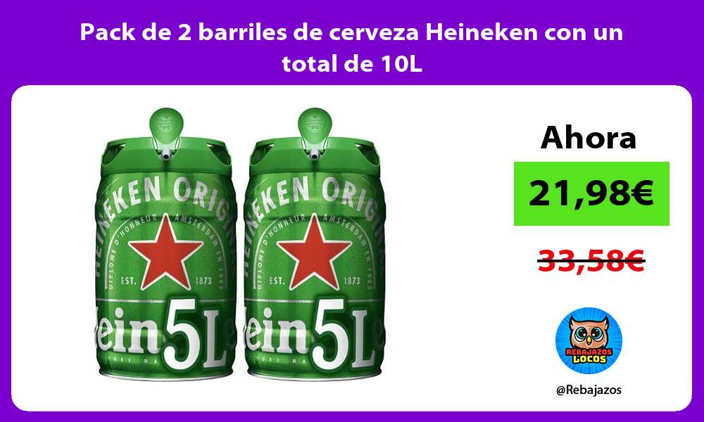 Pack de 2 barriles de cerveza Heineken con un total de 10L