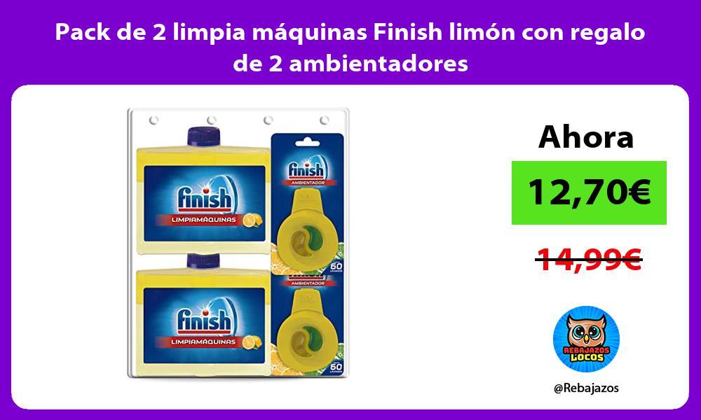 Pack de 2 limpia maquinas Finish limon con regalo de 2 ambientadores