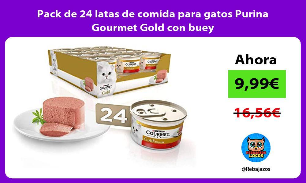 Pack de 24 latas de comida para gatos Purina Gourmet Gold con buey