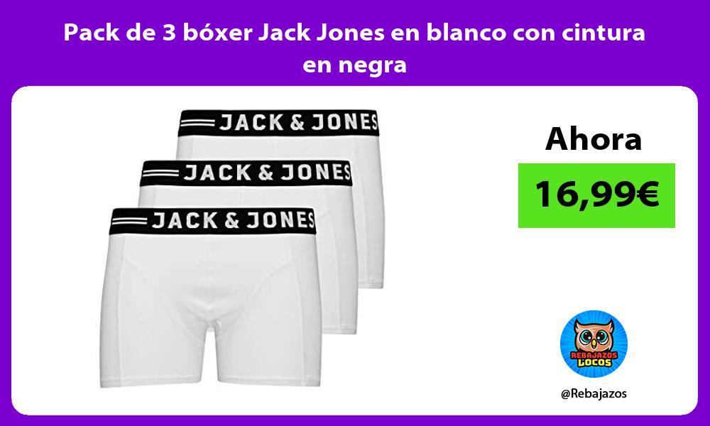 Pack de 3 boxer Jack Jones en blanco con cintura en negra