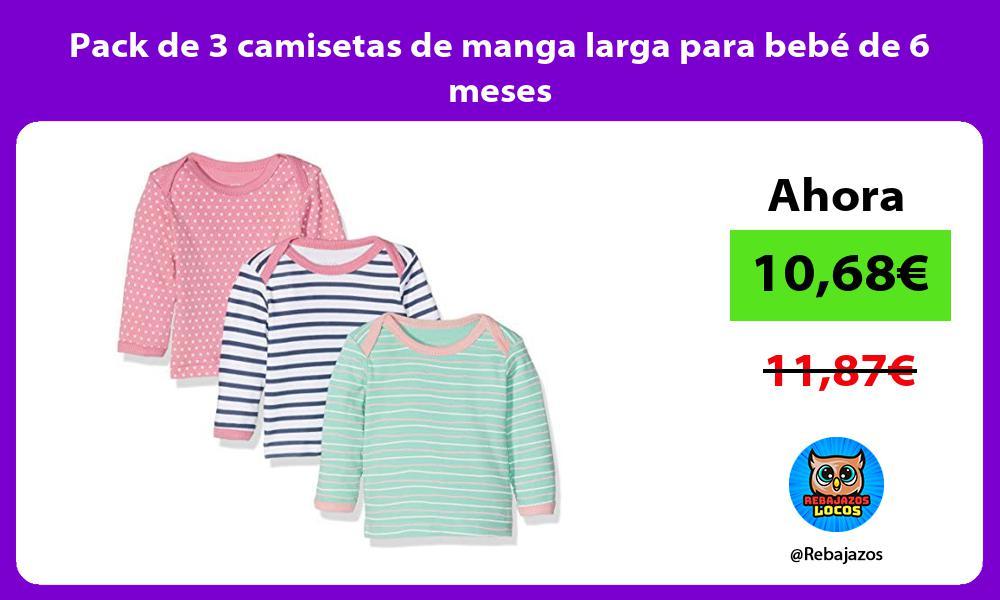 Pack de 3 camisetas de manga larga para bebe de 6 meses