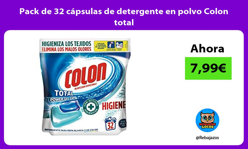 Pack de 32 capsulas de detergente en polvo Colon total