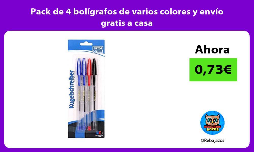 Pack de 4 boligrafos de varios colores y envio gratis a casa