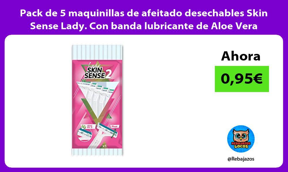 Pack de 5 maquinillas de afeitado desechables Skin Sense Lady Con banda lubricante de Aloe Vera
