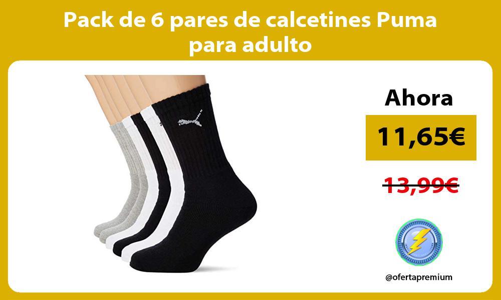 Pack de 6 pares de calcetines Puma para adulto