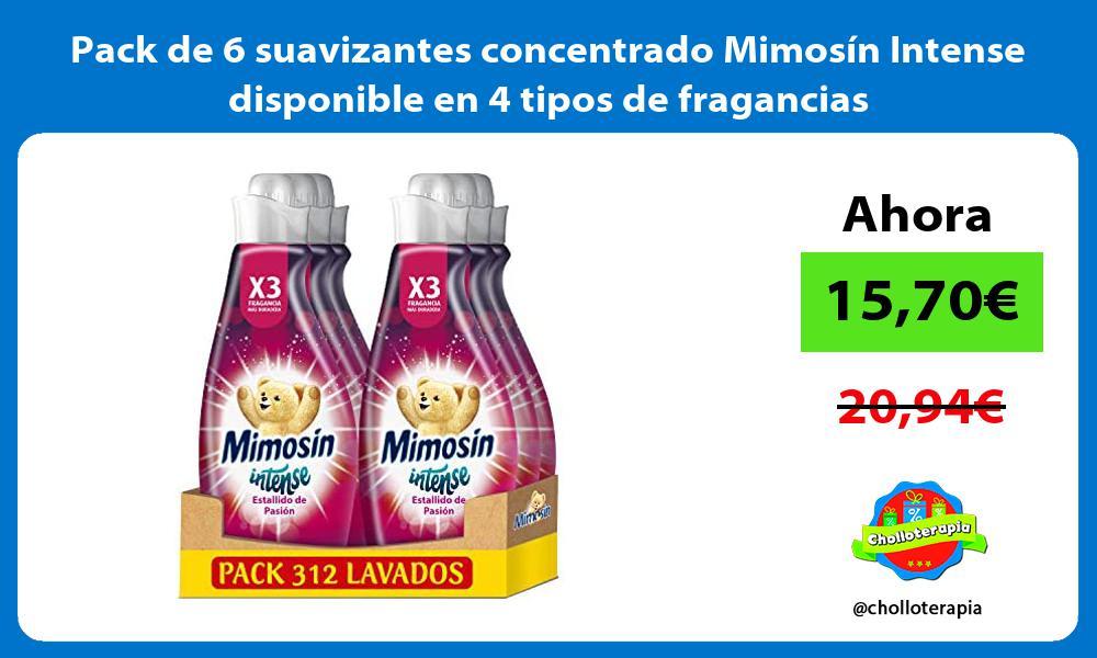Pack de 6 suavizantes concentrado Mimosin Intense disponible en 4 tipos de fragancias