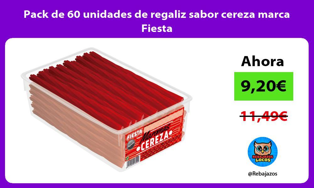 Pack de 60 unidades de regaliz sabor cereza marca Fiesta