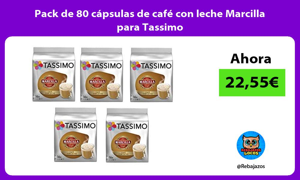 Pack de 80 capsulas de cafe con leche Marcilla para Tassimo
