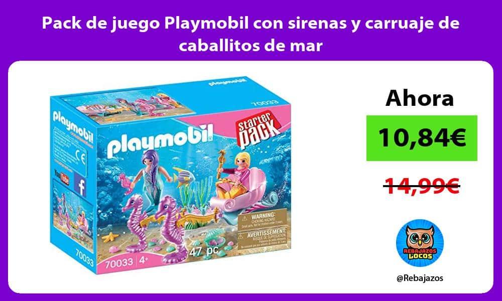 Pack de juego Playmobil con sirenas y carruaje de caballitos de mar