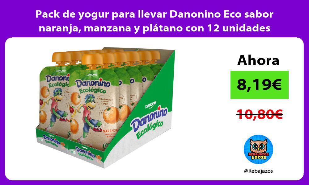 Pack de yogur para llevar Danonino Eco sabor naranja manzana y platano con 12 unidades