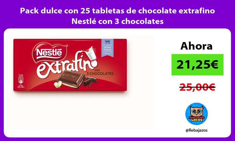 Pack dulce con 25 tabletas de chocolate extrafino Nestle con 3 chocolates