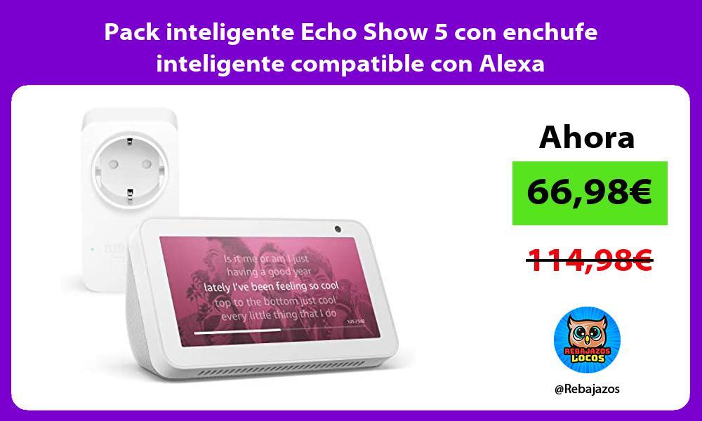 Pack inteligente Echo Show 5 con enchufe inteligente compatible con Alexa