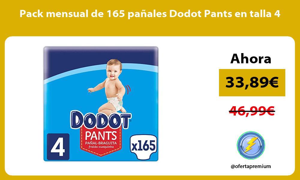 Pack mensual de 165 panales Dodot Pants en talla 4