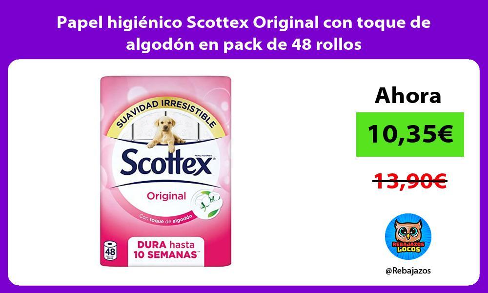 Papel higienico Scottex Original con toque de algodon en pack de 48 rollos