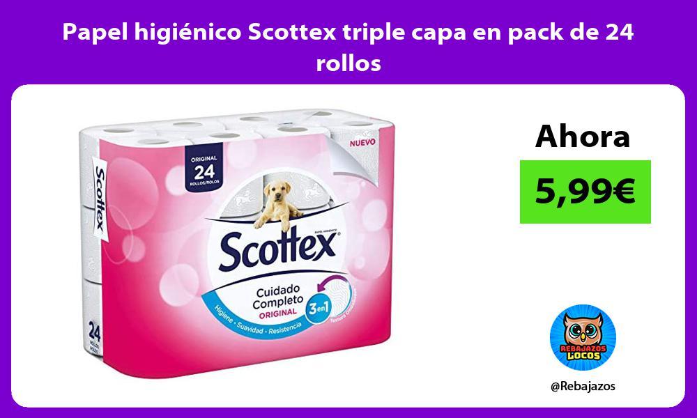Papel higienico Scottex triple capa en pack de 24 rollos