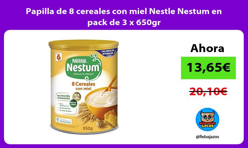 Papilla de 8 cereales con miel Nestle Nestum en pack de 3 x 650gr