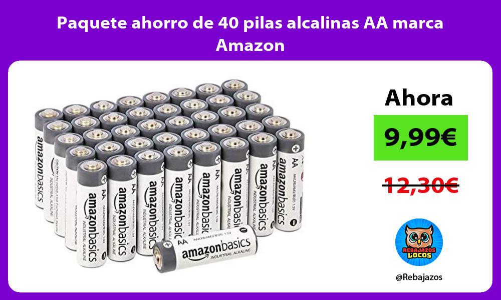 Paquete ahorro de 40 pilas alcalinas AA marca Amazon