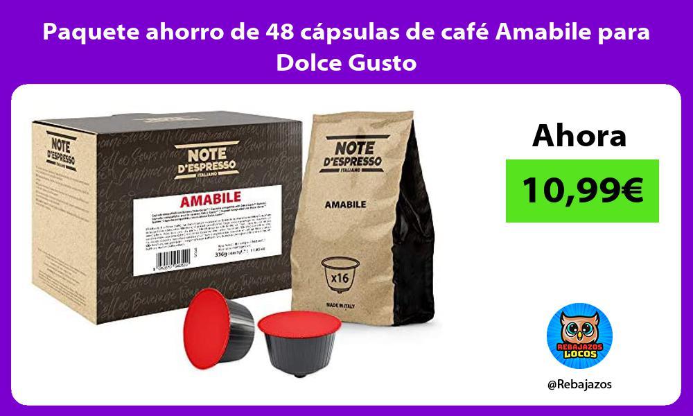 Paquete ahorro de 48 capsulas de cafe Amabile para Dolce Gusto