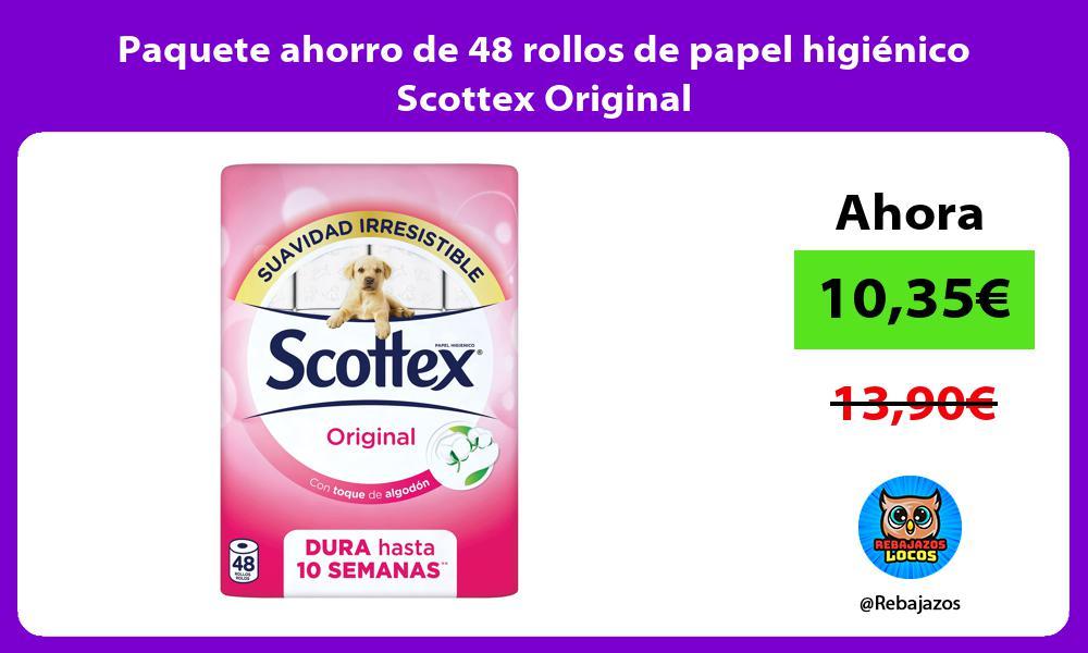 Paquete ahorro de 48 rollos de papel higienico Scottex Original