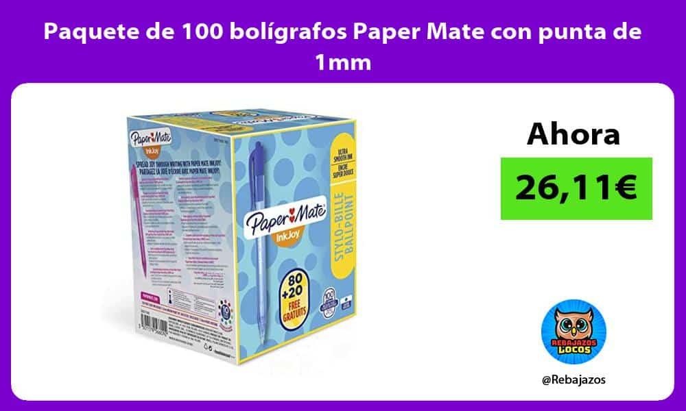 Paquete de 100 boligrafos Paper Mate con punta de 1mm