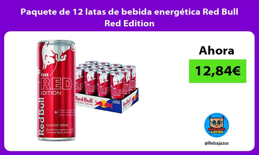 Paquete de 12 latas de bebida energetica Red Bull Red Edition