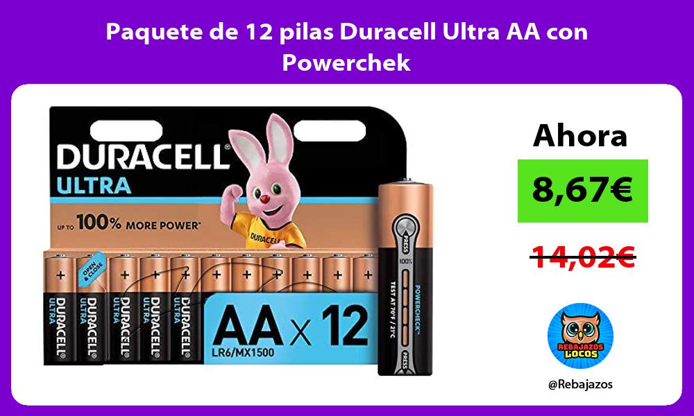 Paquete de 12 pilas Duracell Ultra AA con Powerchek