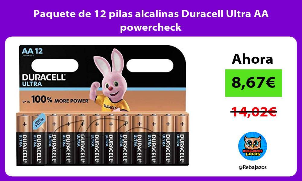 Paquete de 12 pilas alcalinas Duracell Ultra AA powercheck