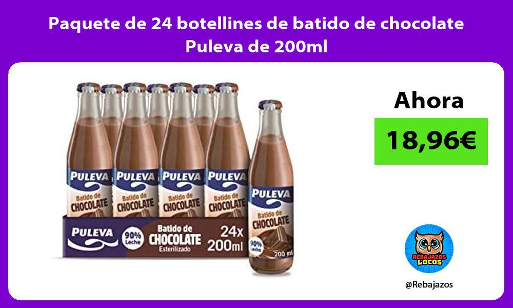 Paquete de 24 botellines de batido de chocolate Puleva de 200ml