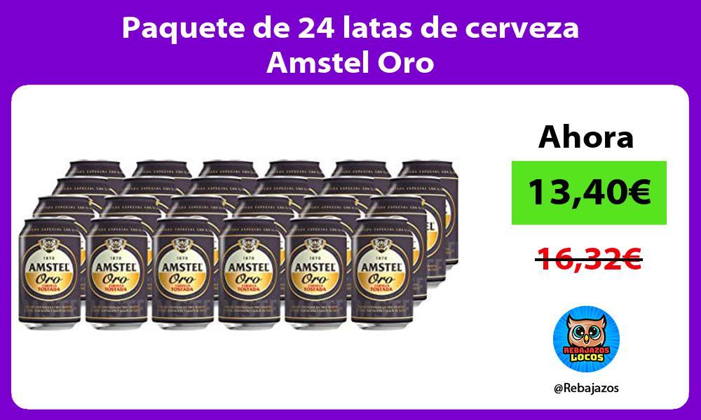 Paquete de 24 latas de cerveza Amstel Oro