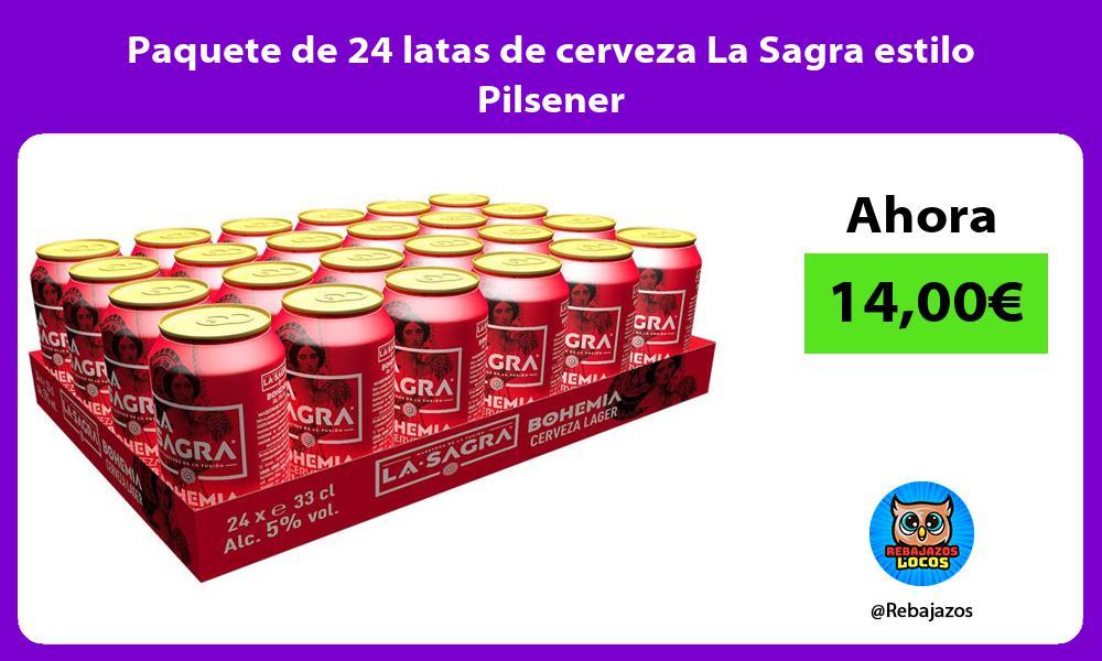 Paquete de 24 latas de cerveza La Sagra estilo Pilsener