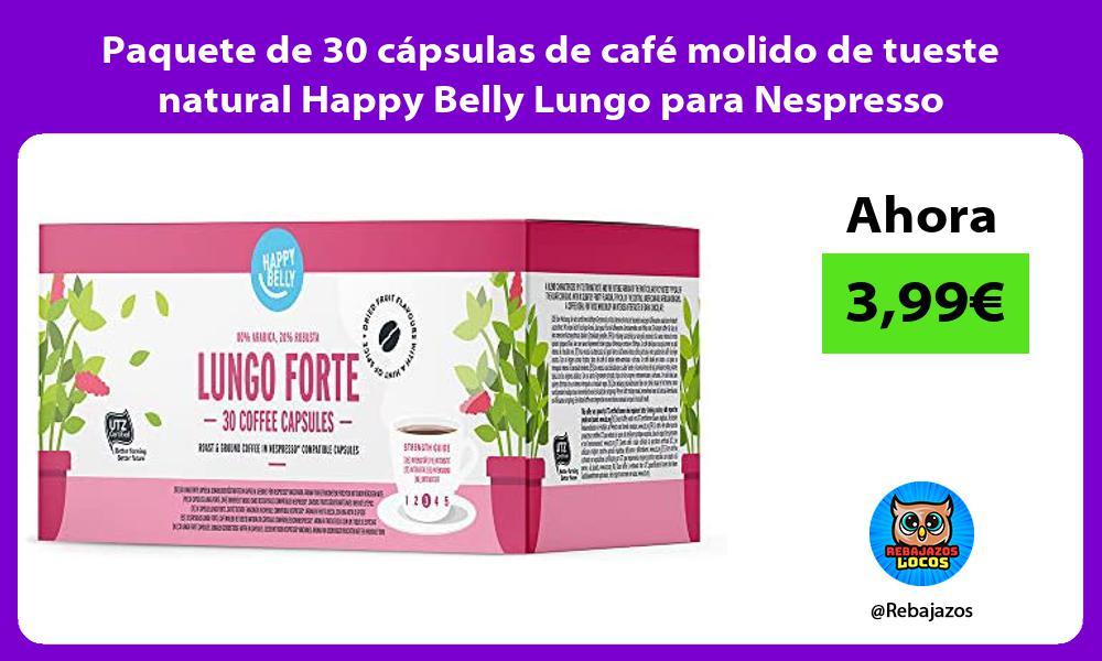 Paquete de 30 capsulas de cafe molido de tueste natural Happy Belly Lungo para Nespresso