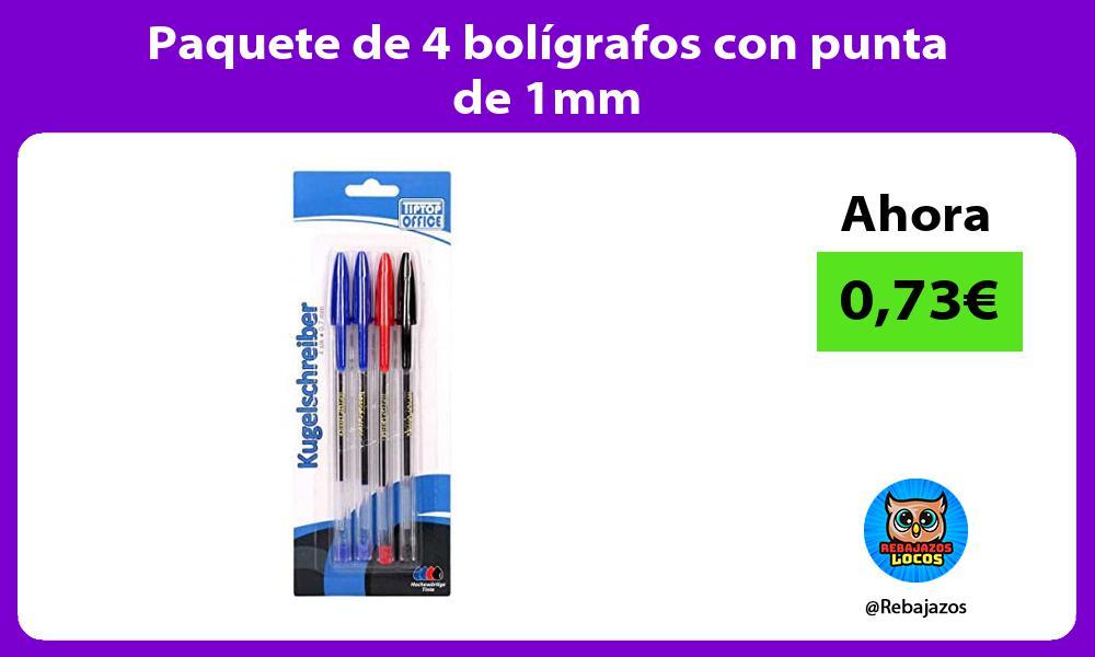 Paquete de 4 boligrafos con punta de 1mm