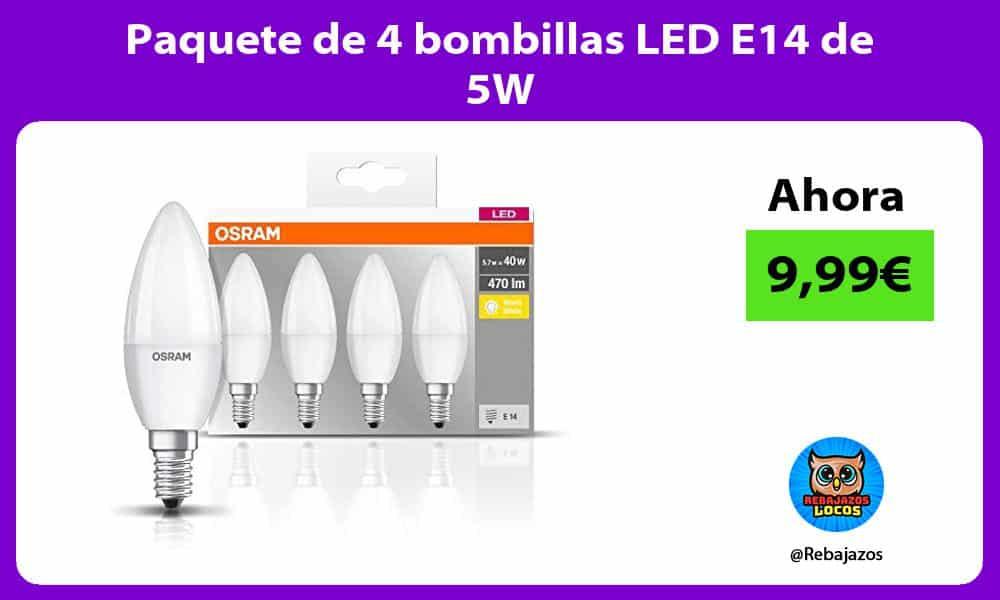 Paquete de 4 bombillas LED E14 de 5W