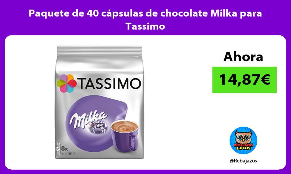 Paquete de 40 capsulas de chocolate Milka para Tassimo