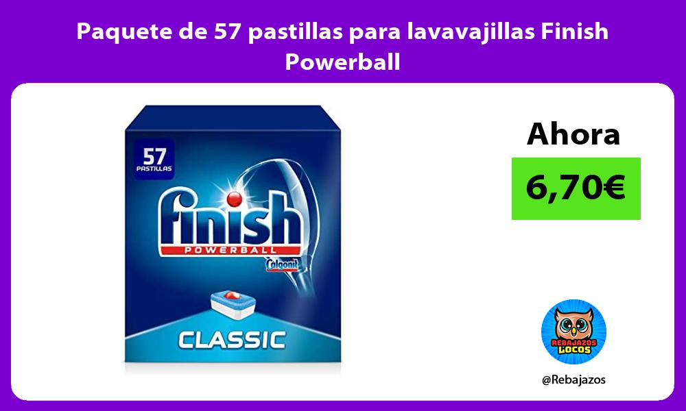 Paquete de 57 pastillas para lavavajillas Finish Powerball