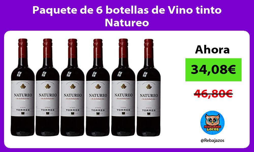 Paquete de 6 botellas de Vino tinto Natureo