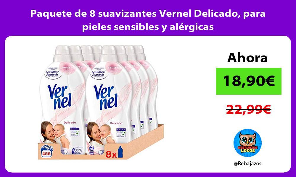 Paquete de 8 suavizantes Vernel Delicado para pieles sensibles y alergicas