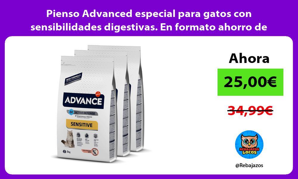 Pienso Advanced especial para gatos con sensibilidades digestivas En formato ahorro de 3x3kg