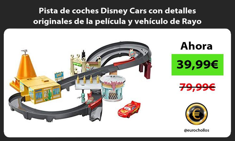 Pista de coches Disney Cars con detalles originales de la pelicula y vehiculo de Rayo McQueen