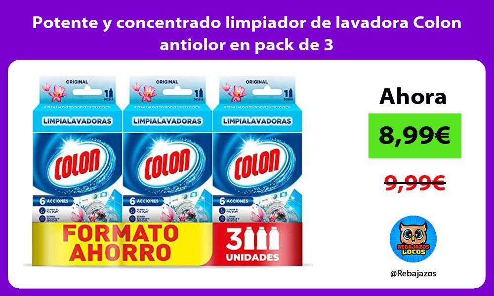 Potente y concentrado limpiador de lavadora Colon antiolor en pack de 3