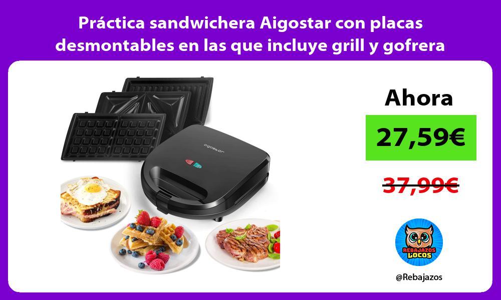 Practica sandwichera Aigostar con placas desmontables en las que incluye grill y gofrera