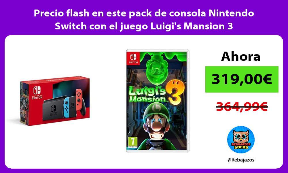 Precio flash en este pack de consola Nintendo Switch con el juego Luigis Mansion 3