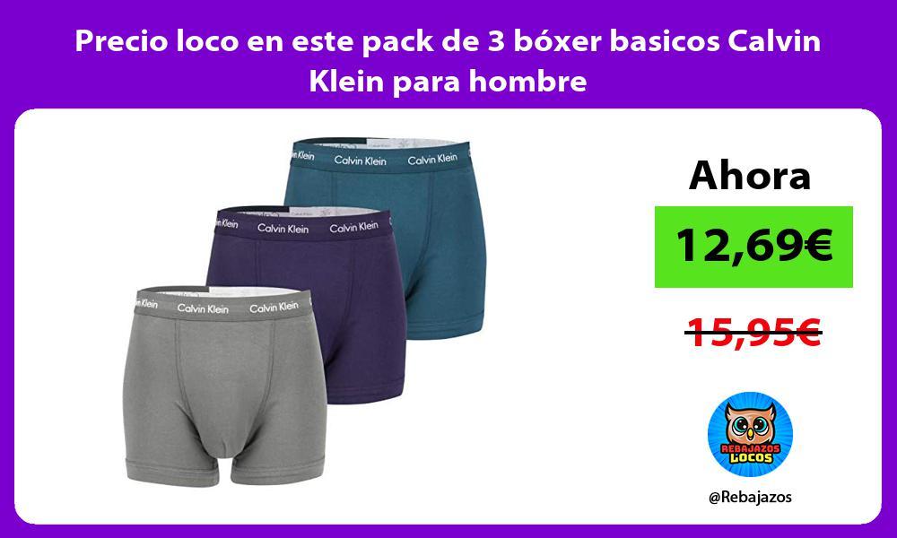 Precio loco en este pack de 3 boxer basicos Calvin Klein para hombre