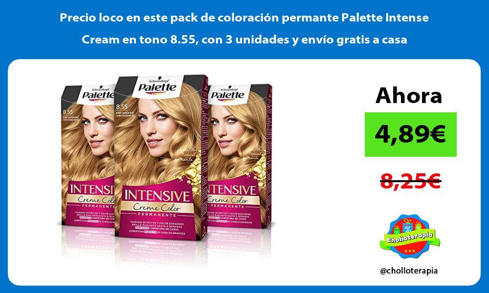 Precio loco en este pack de coloracion permante Palette Intense Cream en tono 8 55 con 3 unidades y envio gratis a casa