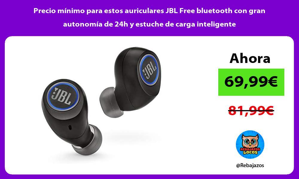 Precio minimo para estos auriculares JBL Free bluetooth con gran autonomia de 24h y estuche de carga inteligente