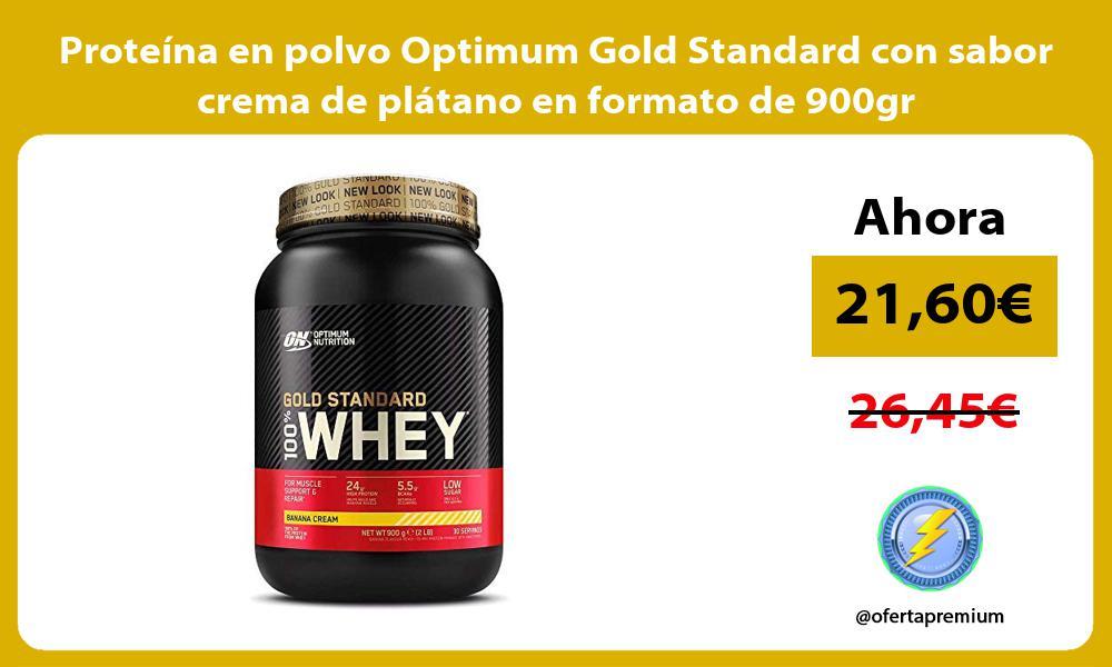 Proteina en polvo Optimum Gold Standard con sabor crema de platano en formato de 900gr