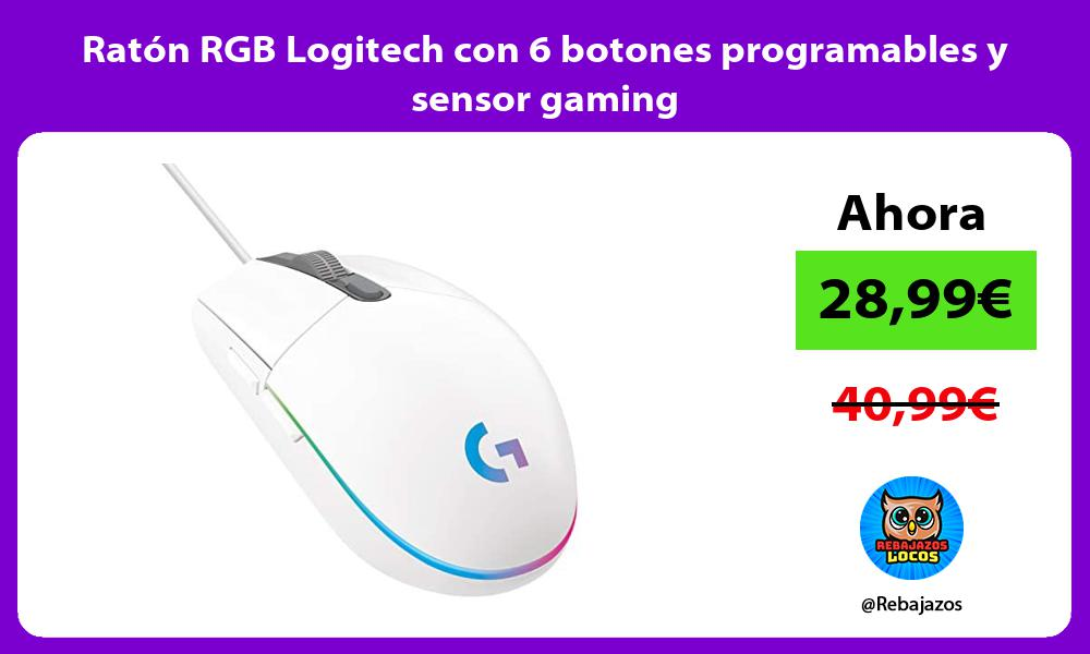 Raton RGB Logitech con 6 botones programables y sensor gaming