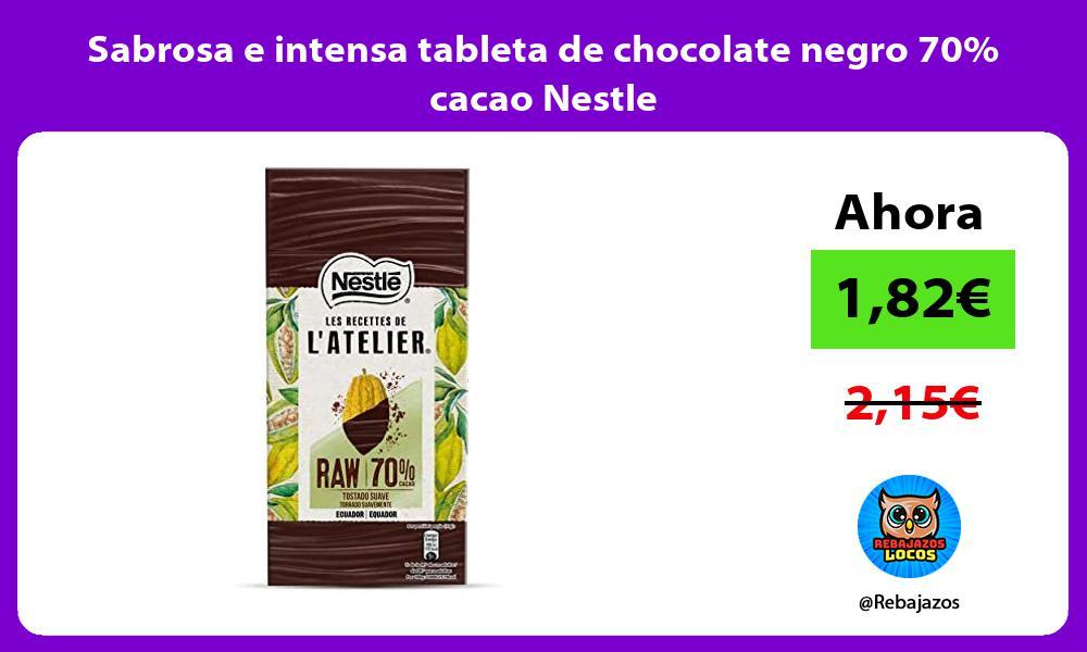 Sabrosa e intensa tableta de chocolate negro 70 cacao Nestle