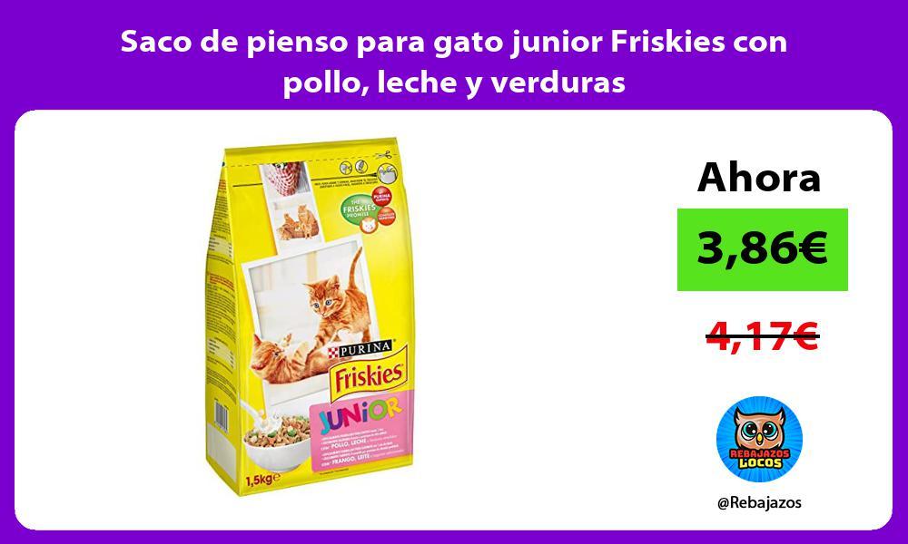 Saco de pienso para gato junior Friskies con pollo leche y verduras